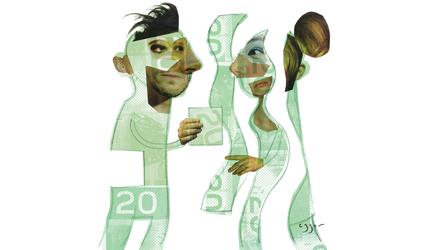 Image de deux personnes faites à partir de billet de 20 dollars