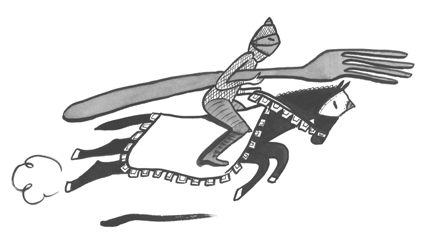 Image d'un chevalier avec une fourchette en guise de lance