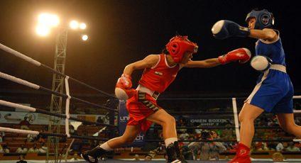 Photographie d'un combat de boxe