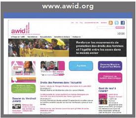Page d'accueil du site AWID