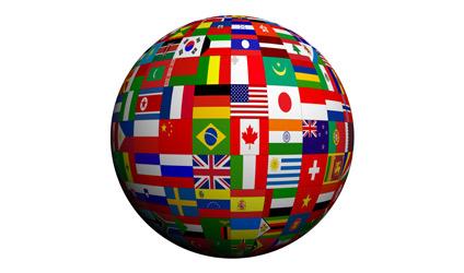 Globe fait de drapeaux de différents pays