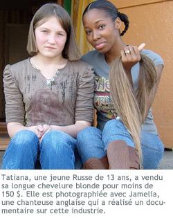 Photographie de Jamelia avec une Russe de 13 ans qui a les cheveux coupés.