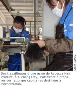 Photographie de travailleuses d'une usine de Rebecca Hair Product.