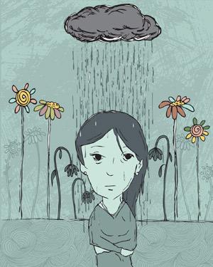 Illustration d'une femme sous la pluie