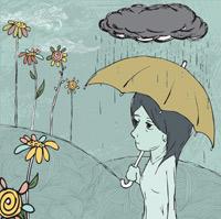 Illustration d'une femme sous la pluie avec un parapluie.