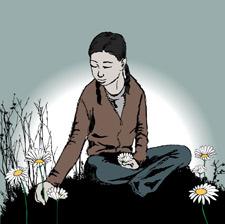 Illustration d'une femme assise parmi quelques marguerites
