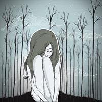 Illustration d'une femme assise parmis des arbres sans feuilles