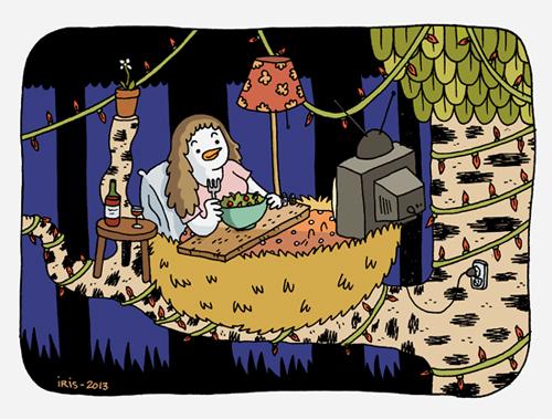 Dessin d'une femme qui mange de la salade dans son lit en écoutant la tél