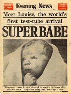 Page de journal du premier bébé éprouvette, Louise Brown.