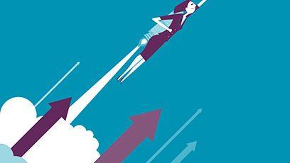 Illustration d'une femme s'envolant avec un réacteur dorsal