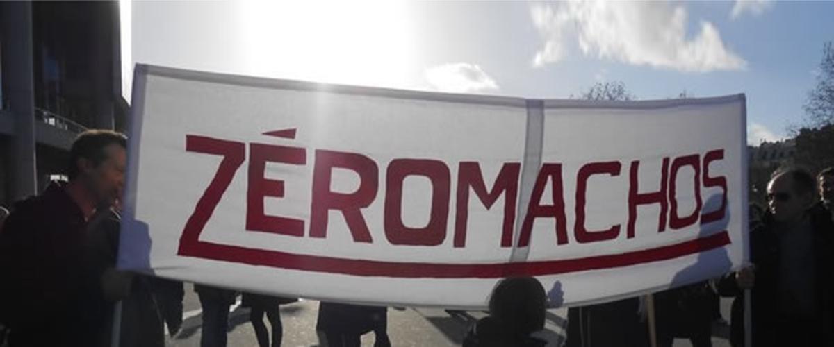 Photographie d'une banderole Zéromachos