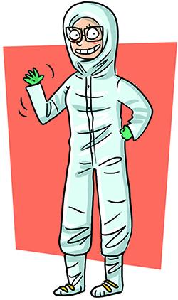 Illustration d'une femme avec vêtement de sécurité.