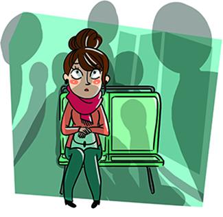 Illustration d'une jeune parisienne apeurée sur un banc de métro,