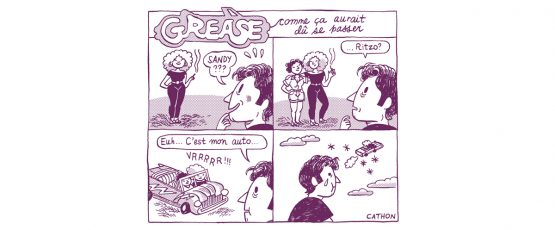 Illustration inspirée du film Grease, illustration de Cathon.