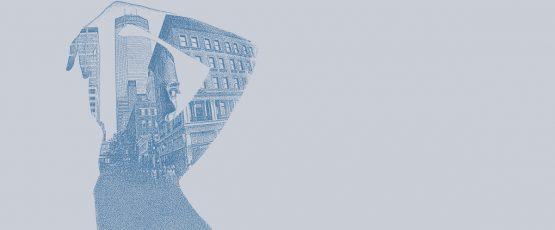 Illustration d'immeubles donnant la silhouette d'une femme.