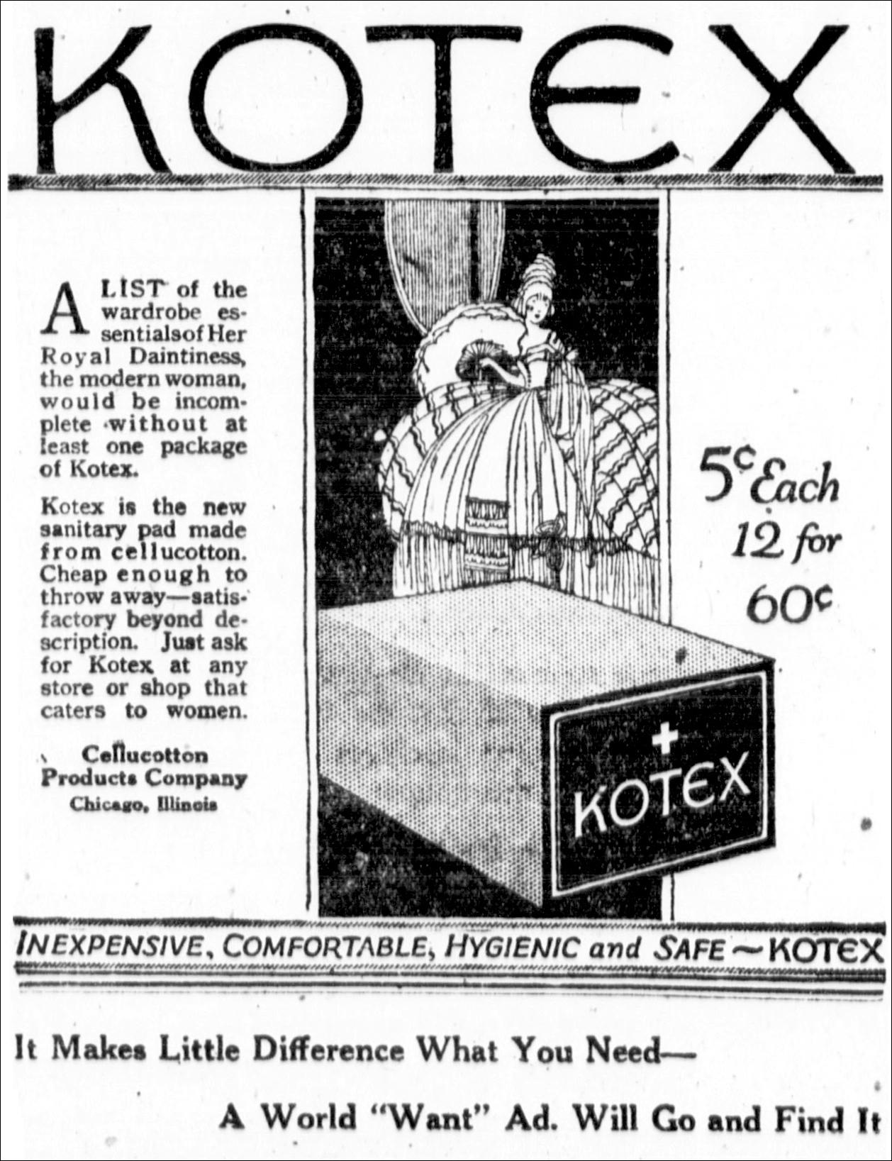 Image publicitaire de kotex en 1920